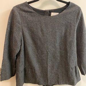 Sézane grey wool peplum top